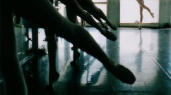 stretched legs of several ballet dancers