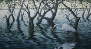 egret and mangroves